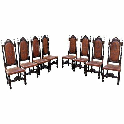 Monumental king Set of Eight 19th Century Louis Xlll Style Leather Dining Chairs