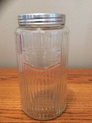 Vintage Hoosier Cabinet Clear Ribbed Coffee Jar With Aluminum Lid