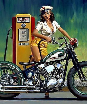 Harley Davidson Motorcycle Man Cave Pinup Girl 8X10 Glossy Photo Picture SIGN