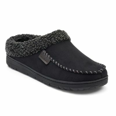 NEW! Dearfoams Men's Microsuede Whipstitch Clog Slippers Black - PICK YOUR SIZE!