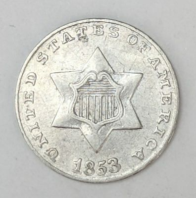1853 Three Cent Silver 3c Coin Nice Sharp Details 18820