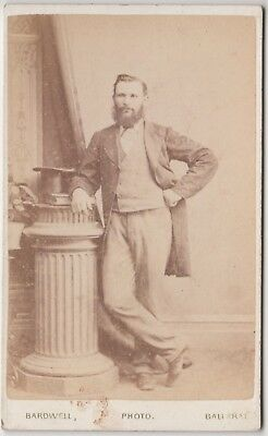 Old 1800's real photo photograph of man by Bardwell Ballarat Victoria Australia