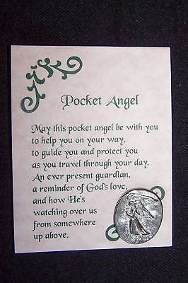 10 Pewter Pocket Guardian Angel Coins Tokens W/Cards Made USA