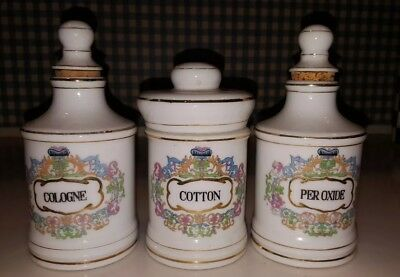 Vintage Hand Painted Chase Porcelain Victorian Style Apothecary Jars Set