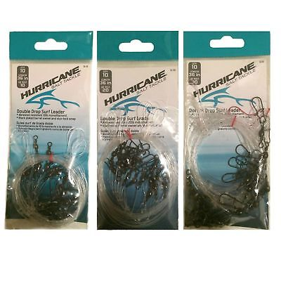 """Hurricane 24/"""" Monofilament 3-22N Double Drop Rig with Beads Nylon Coated"""