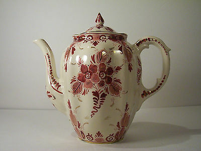 Regina Rood Pottery Coffee Chocolate Pot red floral decoration gold accents