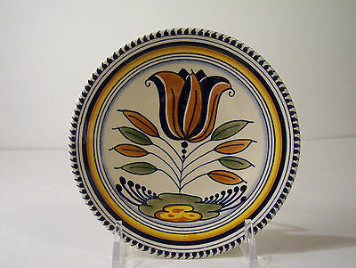 Small Wall Plate hand painted polychrome tulip decoration has small chip Dutch