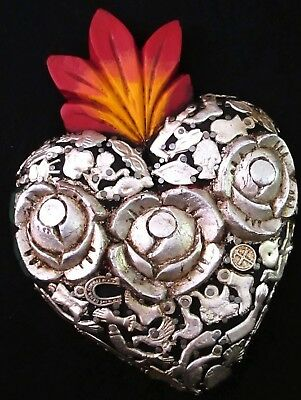 "Milagros Heart Carved Roses Mexican Folk Art Sacred Heart 7.5 x 5.5"" Black"