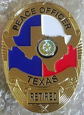 FLAT RETIRED GOLD TEXAS PEACE OFFICER Badge