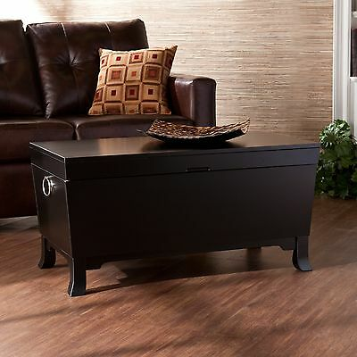 Hope Chest Storage Trunk Black Wooden Coffee Table Large Box For Quilts Blanket