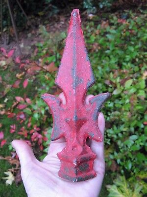 2nd antique 1800's iron fence FINIAL~chippy RED paint GARDEN art Steampunk decor