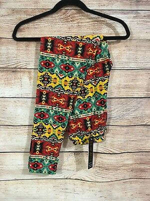 Tall and Curvy Super Soft Leggings Red Yellow Green Aztec Arizona Plus P215N