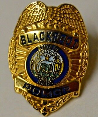 Vintage State of IDAHO Blackfoot POLICE Badge Shaped Golden Lapel Pin Rare