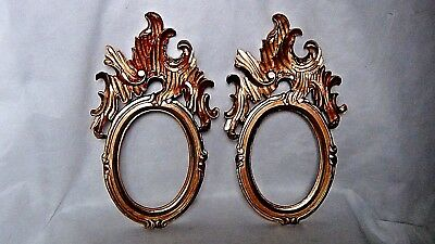 "PAIR ANTIQUE ITALIAN WOOD GILT BAROQUE INTRICATELY CARVED GOLD LEAF FRAMES 15"" x"