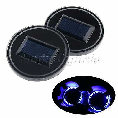 2X Solar Charge Cup Holder Bottom Mat LED Light Pad Atmosphere Lamp Cover Trim