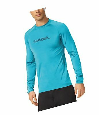 cb19ced0aac815 Baleaf Men's Long Sleeve Surf Shirt Rashguard Swim Tee UPF 50+ Ocean Blue  Large