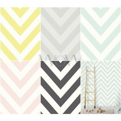 Holden Decor Chevron Zig Zag Wallpaper Kids - Black/white Teal Yellow Pink Grey