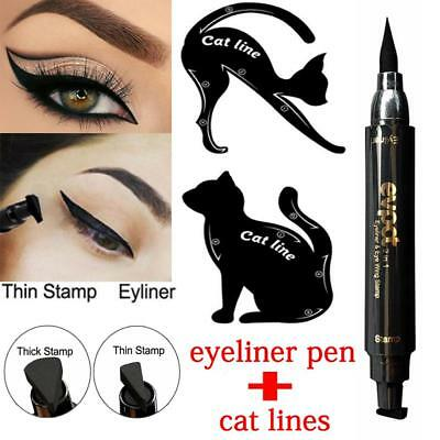 3Pcs Dual-ended Liquid Eyeliner Pen+Stamp Cat Eyeshadow Ruler Template Card CABD