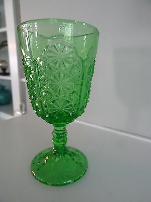 "LG Wright Spring GREEN Glass 4.75"" Daisy Button Thumbprint GOBLET Ball Stem"