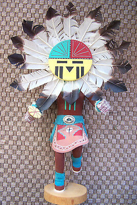 """Vintage 24"""" Kachina SUNFACE Figure Wood, Signed Yazzie, Carved Painted Native Am"""