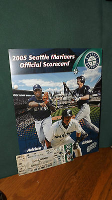 Seattle Mariner Game Scorecard Vs Cleveland Indians, April 22, 2005 With Ticket