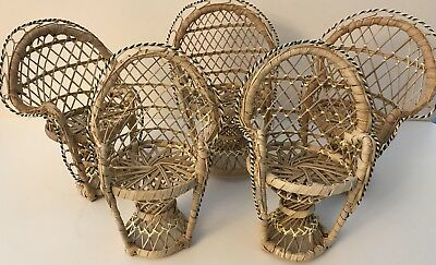 """Lot Of 5 Miniature Peacock Wicker Chairs for Doll Beanies 8"""" H x 6"""" W x 5"""" W NEW"""