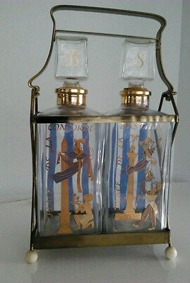 Vintage Gay-Fad Liquor Decanter Set with carry stand Rare Design