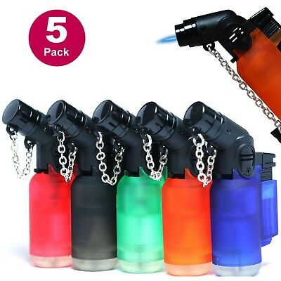 5 Pack 45 Degree Angle Eagle Jet Flame Butane Refillable Windproof Torch Lighter