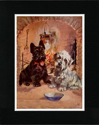 Dandie Dinmont And Scottish Terrier By Fire Vintage Style Dog Art Print Matted