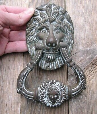 Old Reclaimed Solid Brass Lion Door Knocker