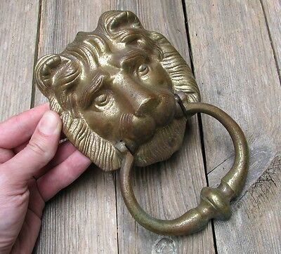 Vintage Reclaimed Brass Lion Head Door Knocker