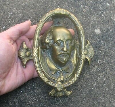 Old reclaimed brass William Shakespeare door knocker from England