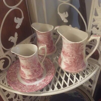 Alfred Meakin Pitchers SET of 3 LOT Plus a Plate