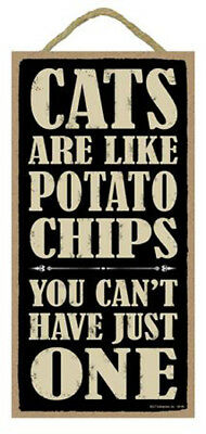 """Cats are Like Potato Chips You Can't Have Just One Sign Plaque Dog 5"""" x 10"""""""