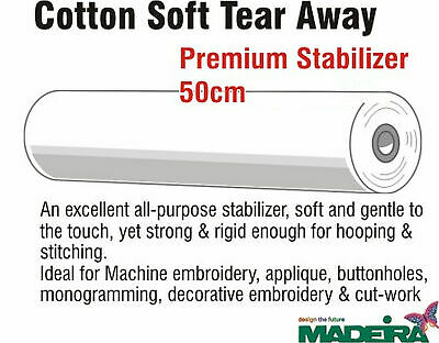 Madeira Cotton Soft Embroidery Stabiliser 50cm Wide Per Metre, Non-Woven Tear Aw