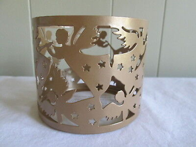"""AVON ANGEL CANDLE SLEEVE for 4"""" Diameter Candles, Metal, Color Gold NEW"""