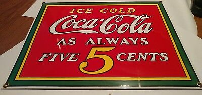 1990 Coca Cola Andy Rooney porcelain 5 cent sign