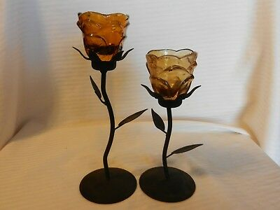 Pair of Flower Shaped Metal with Amber Glass Tea Light Candle Holders