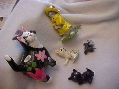 CATS KITTEN with Personality Vintage Figurines (5) - Foul Weather Floral Bobber