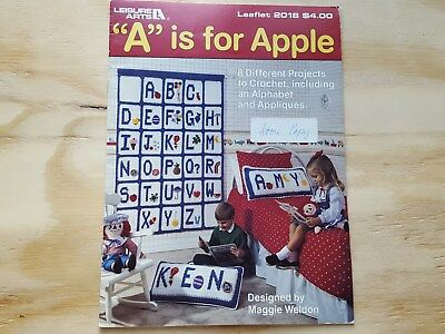 Rare Vintage Crochet Pattern Book: A Is For Apple By Leisure Arts