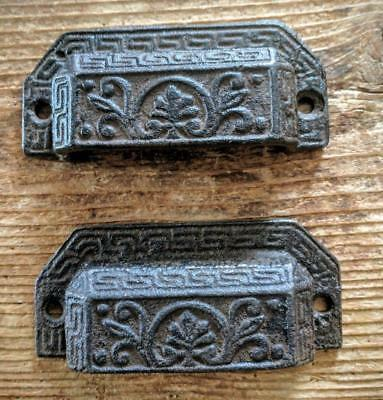 """TWO (2) Cast Iron Handles Drawer Bin Pulls Rustic Brown Vintage Style 3 3/4"""""""