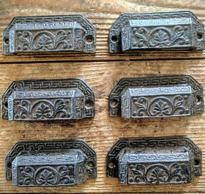 SIX (6) Cast Iron Handles Drawer Bin Pulls Rustic Brown Vintage Style 3 3/4""