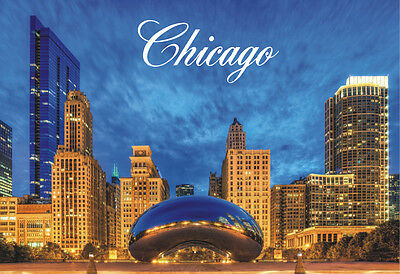 Chicago Bean, Cloud Gate, Millennium Park, IL, Souvenir Fridge Magnet ILCH41
