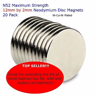 20 X Maximum Strength 12mm by 2mm Neodymium N52 Disc Magnets - Super Value!