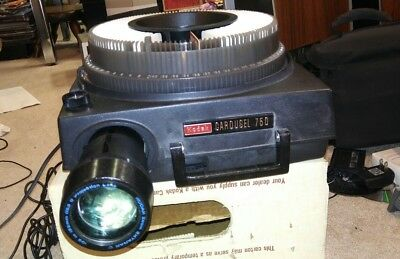 Kodak Carousel 750 Projector-In Original Box-Tested Works Not perfect