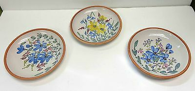 """Laholm Swedish Pottery Hand-Painted 7"""" Plates Set of Three!"""