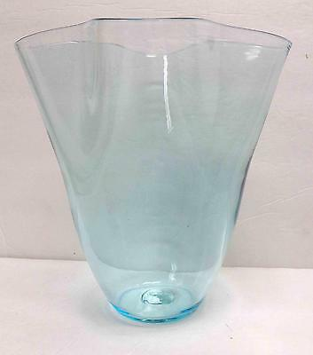 "Blenko Glass Vintage Ice Blue 8-1/2"" Handkerchief Vase #404S!"