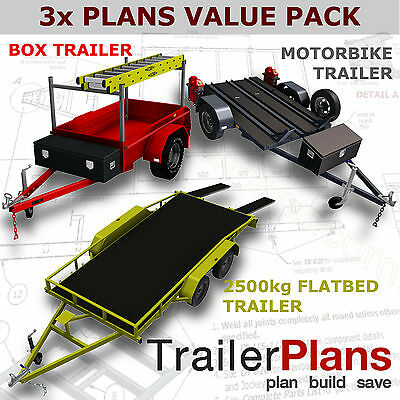 Trailer Plans - 2500kg FLATBED, BOX & MOTORBIKE TRAILER PLANS - Plans on USB