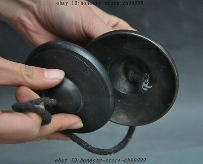 Collect Rare old Chinese Folk Bronze Classical Percussion Musical Small cymbals