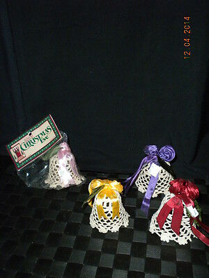 Lot/14 Schmid Christmas Eve Lace Ornaments White Bells With Ribbons